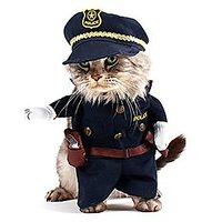 SMALLLEE_LUCKY_STORE Cat Dog Policeman Costume Clothes For 20 Lb Pet Puppy, Large, Black