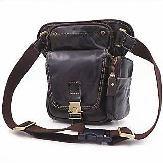 BAOSHA Stylish Mens Genuine Leather Leg Bag Outdoor Riding Cycling Hip Bum Waist bag (Nearly Black)