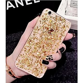 iPhone 6/6S Case,Blingys Sparkling Gold Bling Bling Flexible Soft Clear Case with Gold Leaflets Built-in for iPhone 6/6S