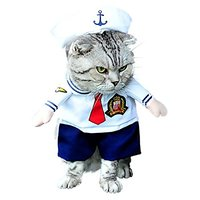 SMALLLEE_LUCKY_STORE Small Cat Dog Sailor Costume With Hat Navy, Large, White