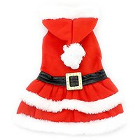 SMALLLEE_LUCKY_STORE Small Cat Dog Hooded Fur Trim Dress Belt Winter Christmas Costume, X-Small, Red