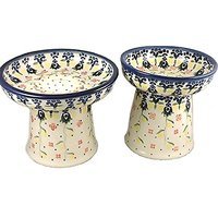 Polish Pottery Raised Cat Or Small Dog Dinnerware Set Wet Food Dish And Dry Food Dish (or Water Bowl) Trailing Vines