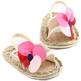 LINKEY Infant Baby Girls Summer Straw Braided Flower Soft Sole Slide Sandals Beginer Walker Shoes Size L