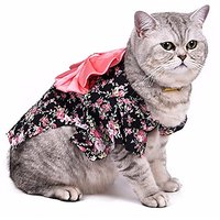 SMALLLEE_LUCKY_STORE Small Cat Dog Costume Kimono Floral Dog Coat Pattern Spring, Large, Black
