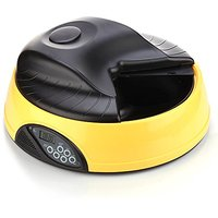 Flexzion Automatic Dog Feeder 4 Meals (Yellow) Programmable Timer Pet Cat Puppy Animal Food Supplies Bowls Water Trays E
