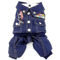 SMALLLEE_LUCKY_STORE Small Cat Dog 4-Legged Military Coat Fleece Lined Winter Jumpsuits, Large, Blue