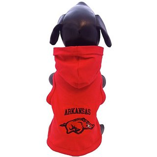 NCAA Arkansas Razorbacks Collegiate Cotton Lycra Hooded Dog Shirt (Team Color, X-Large)