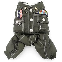 SMALLLEE_LUCKY_STORE Small Cat Dog 4-Legged Military Coat Fleece Lined Winter Jumpsuits, Small, Green