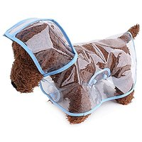 M2cbridge Dog Puppy Coat Dog Poodle Pet Transparent Raincoat Rainwear With Hood (Blue, L (US 14))