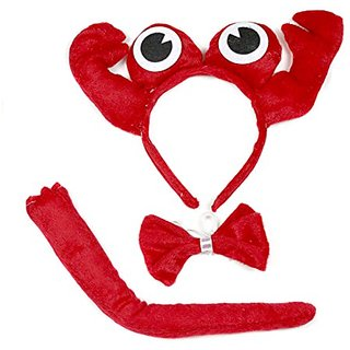 Cute Red Crab Headband Bowtie Tail 3pc Costume for Children Halloween or Party