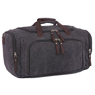 Violet Mist Vintage Large Canvas Travel Tote Luggage Bag Weekend Duffel Handbags (Black)