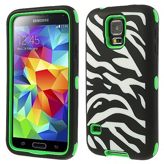 Zebra Silicone & PC 3 in 1 Shock Absorbent Combo Cover for Samsung Galaxy S5 G900 - Green Hybrid Case Cover Snap-On