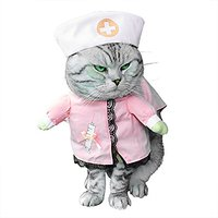 SMALLLEE_LUCKY_STORE Small Cat Dog Nurse Costume With Hat Elegant Ribbon Bow, Medium, Pink