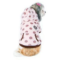 Anima Ultra Soft Polka Dot Fleece Jacket For Small Dogs And Pets, XX-Small, Pink