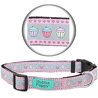 Hubba Puppy Pastel Cupcakes Nylon Dog Collar Adjustable For Small Medium And Large/XL Pets (Small), Light Pink/Grey