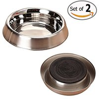 FOREYY Set Of 2 Premium Quality Stainless Steel Dog Bowls - Dog Cat Pet Food Bowl Dish With Non-Skid Rubber Bottom - Eas