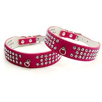 Namsan Leather Puppy Dog Pet Doggie Cats Collars Necklaces With Bling Crystal -Small-Rose