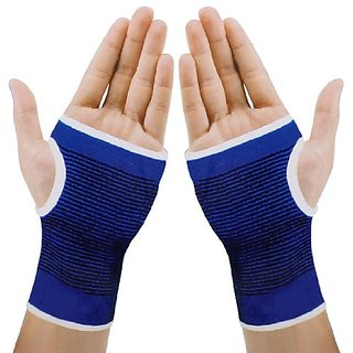 uxcell Pair Blue Black Stretchy Striped Knitting Wrist Palm Protective Support