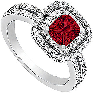 Delicate Ruby Engagement Ring With CZ In 14K White Gold
