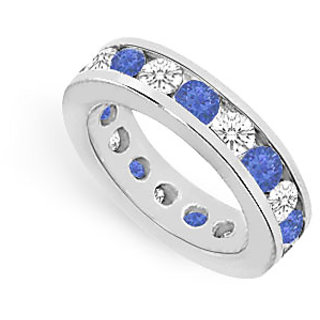 Slick Sapphire And CZ Eternity Bands Channel Set In 925 Sterling Silver