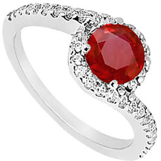 Chic Ruby And CZ Halo Engagement Ring In 14kt White Gold