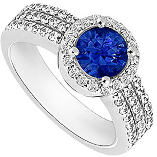 Nice Sapphire And Cubic Zirconia Halo Engagement Rings In 14K White Gold