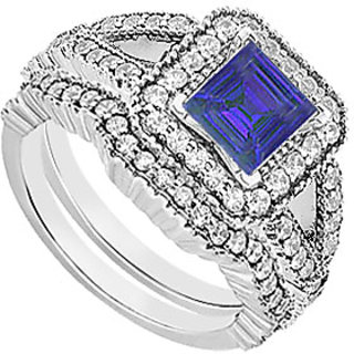 Sassy Sapphire And CZ Engagement Ring With Wedding Bands Set In 925 Sterling Silver