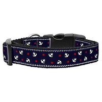 Mirage Pet Products Anchors Nylon Ribbon Collar For Pets, Large, Blue