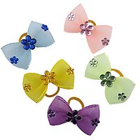 PET SHOW Flower Organza Pet Hair Bows Dog Cat Puppy Grooming Hair Accessories Pack Of 10