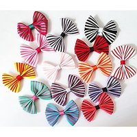 My Little Star Pet - Handmade Stripe Design Bow For Small Cats/dogs , Small Bow For Small Size Pets (10 Piece Stripe Des