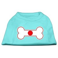 Mirage Pet Products 10-Inch Bone Shaped Japan Flag Screen Print Shirts For Pets, Small, Aqua