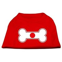 Mirage Pet Products 12-Inch Bone Shaped Japan Flag Screen Print Shirts For Pets, Medium, Red