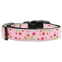 Mirage Pet Products Roses Nylon Ribbon Collar For Pets, Medium, Light Pink