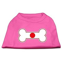 Mirage Pet Products 14-Inch Bone Shaped Japan Flag Screen Print Shirts For Pets, Large, Bright Pink