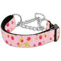 Mirage Pet Products Roses Nylon Ribbon Martingale Collar For Pets, Medium, Light Pink