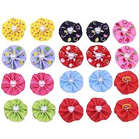 Yagopet 60pcs/30pairs Dog Hair Bows With Rubber Bands Round Bows With Love Pearls Center Dog Topknot Dog Bows Pet Dog Gr