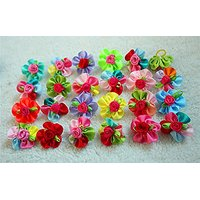 Yagopet 10pcs/pack Dog Hair Bows Cute Bright Flowers Designs Rubber Bands Dog Topknot Bows For Holidays Pet Dog Grooming