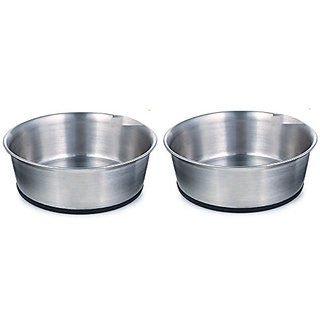 Proselect Stainless Steel Dog Bowl with Rubber Base, 9-1/4-inch, 88-ounce (Pack of 2)