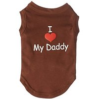 Mirage Pet Products 12-Inch I Love My Daddy Screen Print Shirts For Pets, Medium, Brown