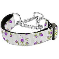 Mirage Pet Products Roses Nylon Ribbon Martingale Collar For Pets, Medium, Purple