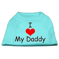 Mirage Pet Products 14-Inch I Love My Daddy Screen Print Shirts For Pets, Large, Aqua