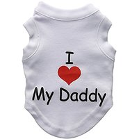 Mirage Pet Products 8-Inch I Love My Daddy Screen Print Shirts For Pets, X-Small, White