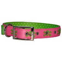 Yellow Dog Design Uptown Collar, Small, Pink/Green Skulls On Green Polka