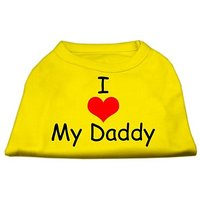 Mirage Pet Products 8-Inch I Love My Daddy Screen Print Shirts For Pets, X-Small, Yellow