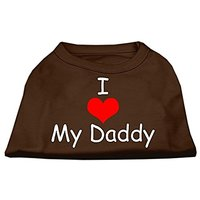 Mirage Pet Products 8-Inch I Love My Daddy Screen Print Shirts For Pets, X-Small, Brown