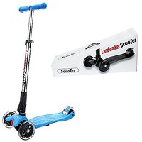 Landwalker Children Scooters Foldable Kick Scooter Adjustable Scooters Nonslip Glider 3-Wheel Scooter With PU LED Light