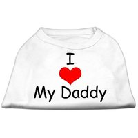 Mirage Pet Products 10-Inch I Love My Daddy Screen Print Shirts For Pets, Small, White