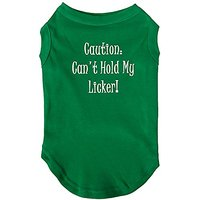Mirage Pet Products 14-Inch Cant Hold My Licker Screen Print Shirts For Pets, Large, Emerald Green