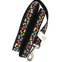 "4FT Durable Nylon 1"" Dog Bone Ribbon Leash Lead Pets Black Rainbow Heavy-Duty Nickel-plated Swivel Clip"