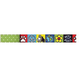 Yellow Dog Design Uptown Lead, 1-Inch, Pets for Peace on Green Polka